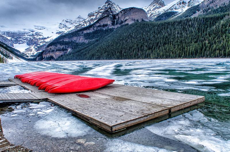 Canoes on lake louise banff